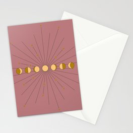 Moon Phases in gold with a starburst and dusty rose background Stationery Cards