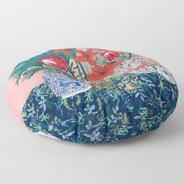 The Domesticated Jungle - Floral Still Life Floor Pillow