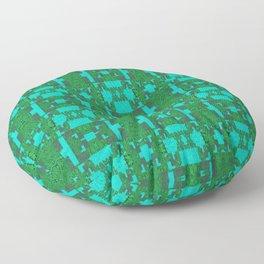 Aqua and Moss Green Geometric Healing Pattern Floor Pillow