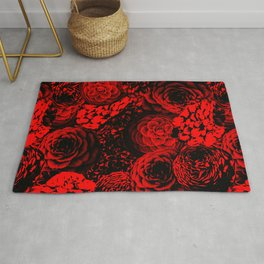 Moody Florals in Red Rug