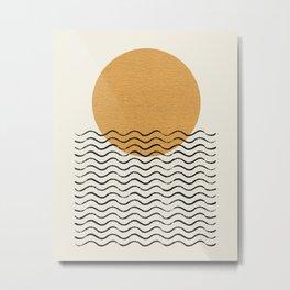 Ocean wave gold sunrise - mid century style Metal Print