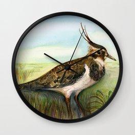Lapwing Bird Watercolor Painting Hand-painted Artwork Wall Clock