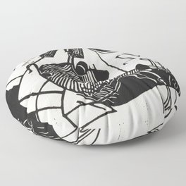 Herbie's Tune, Abstract Jazz Instruments Black and White Block Print Floor Pillow