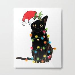 Black Santa Cat Tangled Up In Lights Christmas Santa Illustration Metal Print