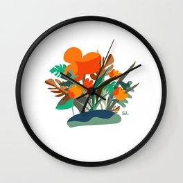 Floral orange magic between plants decor art Wall Clock