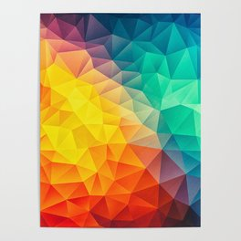 Abstract Polygon Multi Color Cubism Low Poly Triangle Design Poster