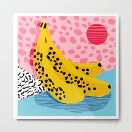 What It Is - memphis throwback banana fruit retro minimal pattern neon bright 1980s 80s style art Metal Print
