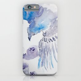 Loose watercolor raven in lilac and blue with roses iPhone Case