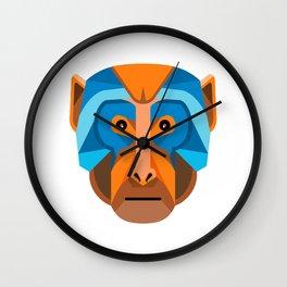 Rhesus Macaque Head Flat Icon Wall Clock