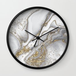 Grey liquid marble - pearl and gold Wall Clock