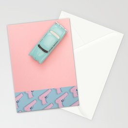Pastel Pink and Blue/Pastel Vintage Rotary Dial Telephone/Pastel Vintage Car/Sparkly Unicorn/Pastel Pistol Stationery Cards
