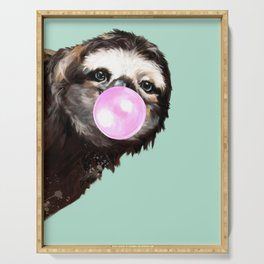 Bubble Gum Sneaky Sloth in Green Serving Tray