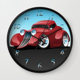 Red Street Rod / Hot Rod Custom Coupe Wall Clock