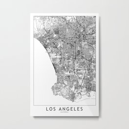 Los Angeles White Map Metal Print