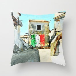 Tortora glimpse with Italian flag painted on the wall of building Throw Pillow