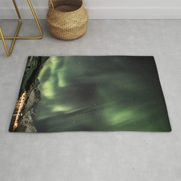 Green Northern Light Tromsø Mountains Photo | Aurora Borealis Norway Art Print | Travel Photography Rug