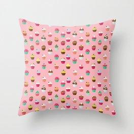 Tasty Cupcake Pattern Throw Pillow