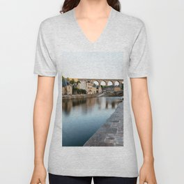 The Habour of  Dinan in France Unisex V-Neck