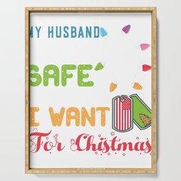 Husband Home Safe for Christmas Hubby Military Deployment  Serving Tray