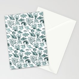 Vintage Nautical Illustrations in Verdigris Stationery Cards