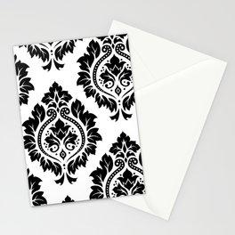 Decorative Damask Art I Black on White Stationery Cards