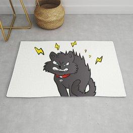 cartoon scared black cat Rug