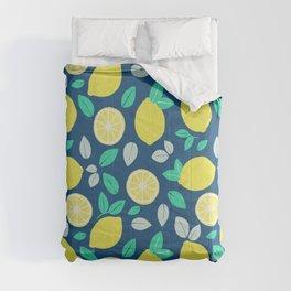 Summer Lemon Pattern in Navy Blue Comforters