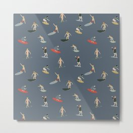 Seven Surfers Surfing - Pattern - Muted Blue Metal Print