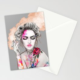 Tender girl, flowers and smoke. #picture Stationery Cards