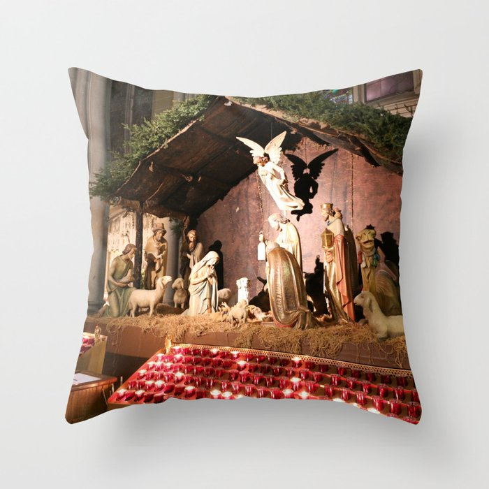 Nativity Scene in St. Patrick's Cathedral Throw Pillow by Christine aka stine1
