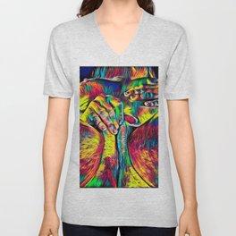 4281s-RES Abstract Pop Color Erotica Pleasuring Psychedelic Yoni Self Love Unisex V-Neck
