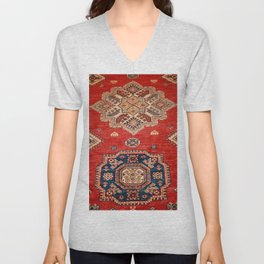 Natural Dyed Handmade Anatolian Carpet Unisex V-Neck