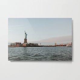 Statue of Liberty with Sunset | Colourful Travel Photography | New York City, America (USA) Metal Print