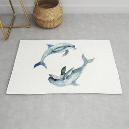 Dolphin, Two Dolphins, chidlren room decor illustration dolphin art Rug