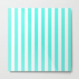 Vertical Stripes (Turquoise & White Pattern) Metal Print