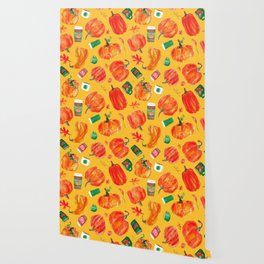 Watercolor Pumpkin Patch in Butternut Squash Gold Wallpaper