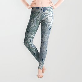 Yoga, Mandala, Green and Blue, Wall Art Boho Leggings