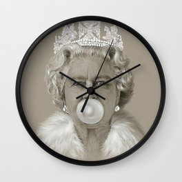 Queen Elizabeth II Blowing White Bubble Gum Wall Clock