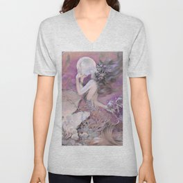 Mermaid with Pearl Henry Clive Lavender Pale Pink Unisex V-Neck