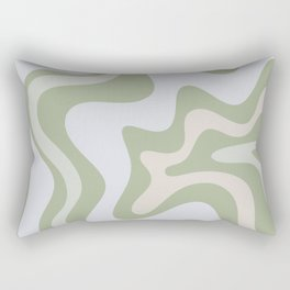 Liquid Swirl Contemporary Abstract Pattern in Light Sage Green Rectangular Pillow
