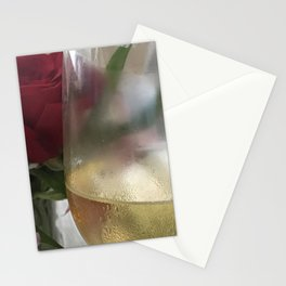 Wine and Single Red Rose Stationery Cards