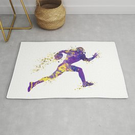 American Football Player Sports Art Football Player Gift Superbowl Gift Colorful Watercolor Art Rug