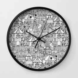 retro circus black white Wall Clock