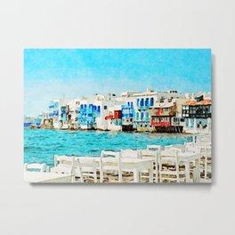 Little Venice Beach at Mykonos Metal Print