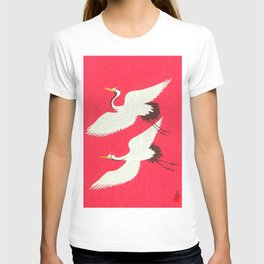 Tokuriki Tomikichiro Flying Cranes 1950s Japanese Woodblock Print Asian Historical T-shirt