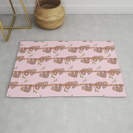 Lazy Baby Sloth Pattern in Pink Rug