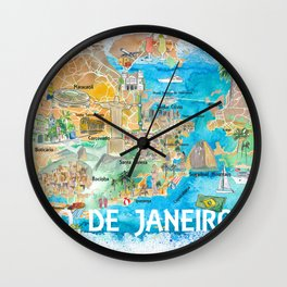 Rio de Janeiro Illustrated Map with Main Roads Landmarks and Highlights Wall Clock