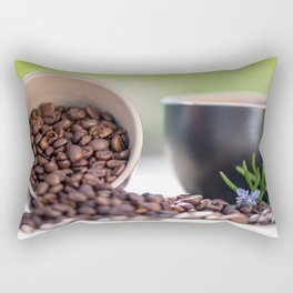 #Fresh #arabica #coffee #beans in #black #coffee #cups Rectangular Pillow