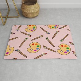paintbrush and palette Rug