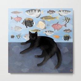 Ivy the Black Cat & The Fish Tank Metal Print